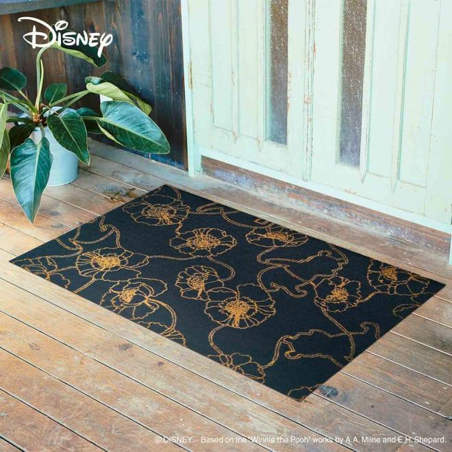 Pooh(くまのプーさん)/玄関マット 75×120cm Disney(ディズニー) (ア)ブラック アネモネ