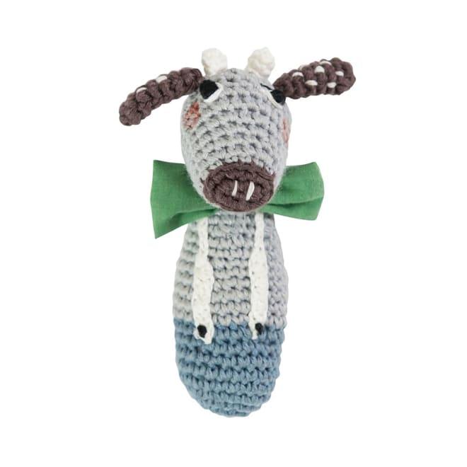 sebra(セバ)/ウシの手編みラトル|ベビー おもちゃ (ア)ブルー
