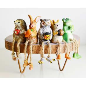 大人気のアニマルオブジェ 足ブラセット|フクロウ、リス、ハリネズミ、ウサギ、カエル 写真