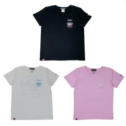 RealBvoice(リアルビーボイス)/レディース バッファロー柄Tシャツ 上から時計回りに(イ)ネイビー、(ウ)ピンク、(ア)ホワイト