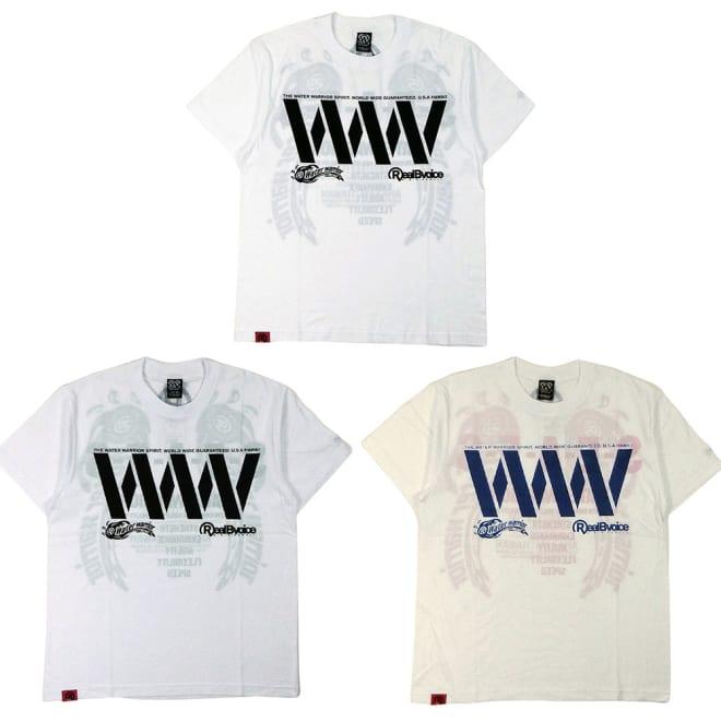 RealBvoice(リアルビーボイス)/WWメンズ透かしTシャツ 上から時計回りに(ア)ホワイトサックス、(ウ)ホワイトピンク、(イ)ホワイトグリーン