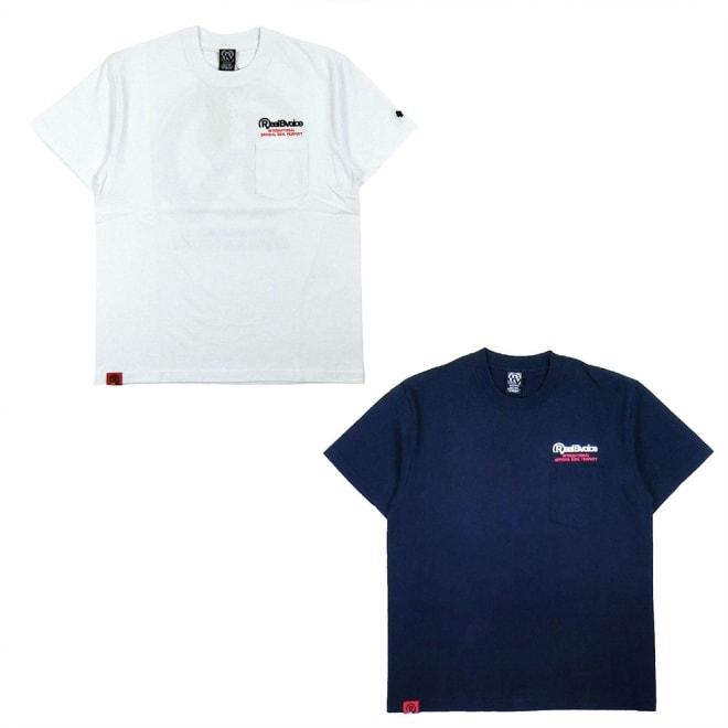 RealBvoice(リアルビーボイス)/バックプリントメンズポケットTシャツ (ア)ホワイト、(イ)ネイビー