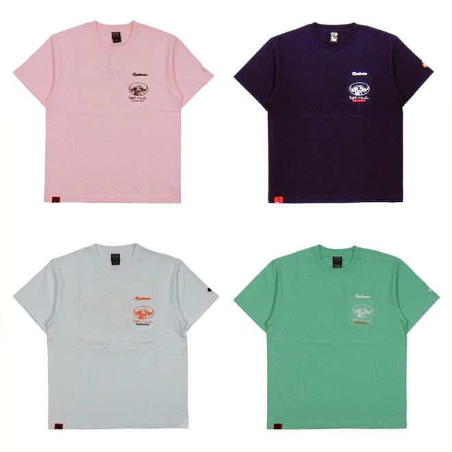 RealBvoice(リアルビーボイス)/バッファロー柄メンズTシャツ 左上から時計回りに(エ)ピンク、(イ)ネイビー、(ウ)メロン、(ア)ホワイト