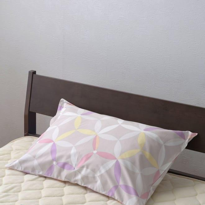 京都西川/七宝遊び柄の枕カバー (ア)ピンク