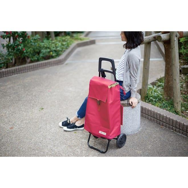 cocoro(コ・コロ)/たためて便利なショッピングカート PLAIN COLOR モデル使用…(ウ)ボルドー