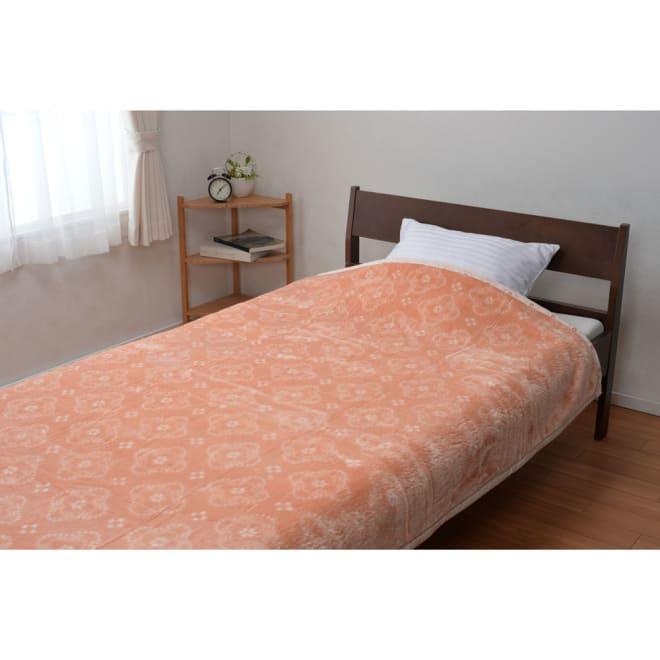 西川京都/日本製一重毛布 いろは小紋柄 (ア)オレンジ
