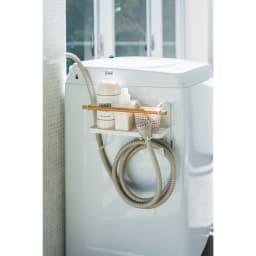 ホースホルダー付き洗濯機横マグネットラック トスカ 洗濯機の側面にすっきり収納