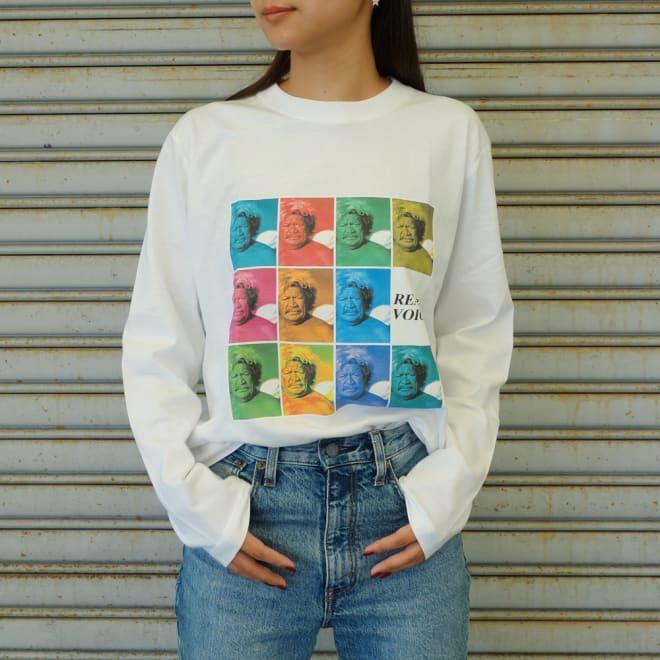 RealBvoice(リアルビーボイス)/バッファローフォトプリント ロングTシャツ モデル着用…(ア)ホワイト