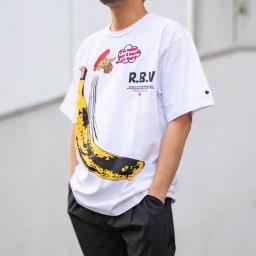 RealBvoice(リアルビーボイス)/デベソ バナナ Tシャツ モデル着用…(ア)ホワイト
