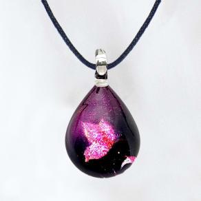 日本製ハンドメイドグラスジュエリー|ノースワングラスジュエリー/Purple Butterfly ドロップネックレス 写真