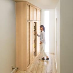 【板見本】 狭い場所でも収納たっぷり引き戸壁面収納シリーズ コーディネート例(イ)ナチュラル