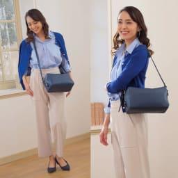 千秋プロデュース 12ポケットバッグ ショルダーストラップは長さ調節可能。斜め掛けも。