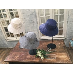 ベル・モード フレンチリネンUVケア帽子 左から:(ウ)ナチュラル (ア)ブラック (イ)ネイビー