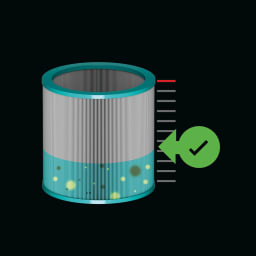 dyson/ダイソン ピュアクールミー 空気清浄機能付き扇風機 BP01 ディスプレイにフィルター寿命を表示。(※交換目安:1日12時間の使用で約1年)