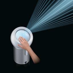 dyson/ダイソン ピュアクールミー 空気清浄機能付き扇風機 BP01 ドームの表面を手でスライドさせることで、風向きを水平にも斜めにも調節可能。(※イメージ)