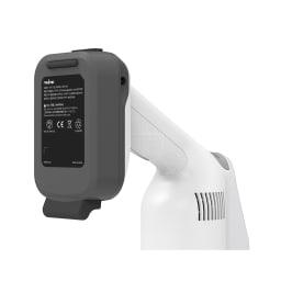 レイコップ コードレスクリーナー 通販限定モデル RHC-500JPWH バッテリーの裏側にゴムクッション付き。壁やテーブルなどに立て掛けられ、掃除中のちょっと置きにも便利。
