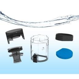 レイコップ コードレスクリーナー 通販限定モデル RHC-500JPWH ダストボックスは紙パック不要で、フィルターまで丸洗いできて清潔に使えます。