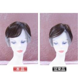 人毛100%ウィッグ プレミアム(部分タイプ) 前髪のボリュームがなくなると老けて見られがちですがここまでボリュームアップ!見た目印象がかなり変わります。