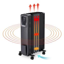 Dimplex/ディンプレックス オイルフリーヒーター B04(タッチパネル式) 〈輻射熱〉本体のフィンから出る輻射熱が床や壁、天井に伝わり、お部屋全体をムラなく快適に暖めます。