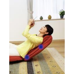 スリム座椅子 ピラトレ 腰、背中、首がとにかく楽!「肩・首」、「腰」とも14段階にリクライニング可能。お好みの角度に調整できます。