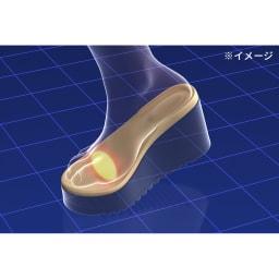 美人ぐせサンダル スタイルアッププラス 足指パッドにより、足指でしっかり掴んで歩くことができるように。結果、歩幅が広がり筋肉が使われやすくなります。