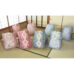 羽毛布団のフルリフォーム(セミダブル) 柄はお任せになりますが、色は(ア)暖色系と(イ)寒色系からお選びいただけます。※写真は柄の一例です