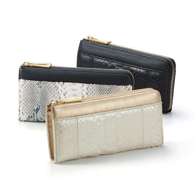 パイソン 長財布 人気のダイヤモンドパイソンを贅沢に使った長財布。上質で高級感があり、持つだけで金運アップが期待できそう。