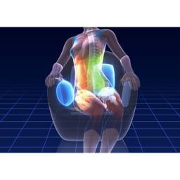 エアリーツイストボディ 背面のエアーバッグが左右交互に動くことで、「ツイスト」のひねる動きまで勝手にやってくれる。骨盤周りの補整からストレッチ、エクササイズまで期待できます。