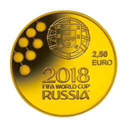 FIFAワールドカップロシア大会公式記念コイン 金貨3種セット ポルトガル2.5ユーロ金貨 表面