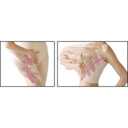 セルスルーエステ 5分袖+ガードルセット(上下同色同サイズ) 本体のセルスルーラインが、なでる方向をガイド。ラインに沿って、体の中心に向かって 流すようになでてください。