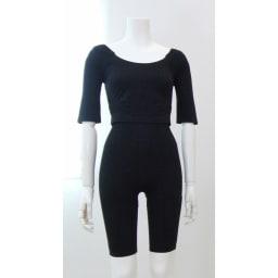セルスルーエステ 5分袖+ガードルセット(上下同色同サイズ) (ア)ブラック…1枚は欲しい定番ブラック。