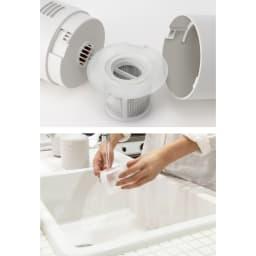 ±0/プラスマイナスゼロ コードレスクリーナー フィルターとダストボックスは水洗い可能で、いつも清潔に使えます。
