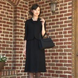 東京ソワール ブラックフォーマル アンサンブル風ワンピース(夏用)