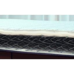FranceBed/フランスベッド エアリーフォース(シングル) 最上位モデルと同じスプリング構造の「高密度連続スプリング」。針金がつながっている構造で、体全体をしっかり支えます。それでいて寝心地はやわらかく、「しっかり支える」と「やわらかな寝心地」を両立。