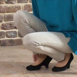 ARIKI あったか大人パンツ タテ・横・ななめに伸縮するニット素材だから、ひざ周りも窮屈感なく ひざのポッコリも出にくい!