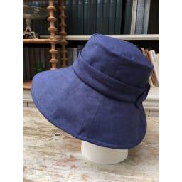 ベル・モード フレンチリネンUVケア帽子 (イ)ネイビー…デニム感覚のカラーでカジュアルに使えます。