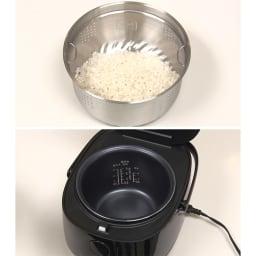 低糖質炊飯器【ディノス限定レシピ付】 炊き方も簡単!二重釜の構造になっているから内釜部分でお米をいれます!もちろん外釜部分だけでの使用もOK。(通常炊飯3合。糖質カット炊飯1.5合)