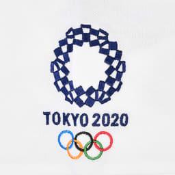 袖刺繍 ポロシャツ YO-08(東京2020 オリンピックエンブレム) (ア)ホワイト