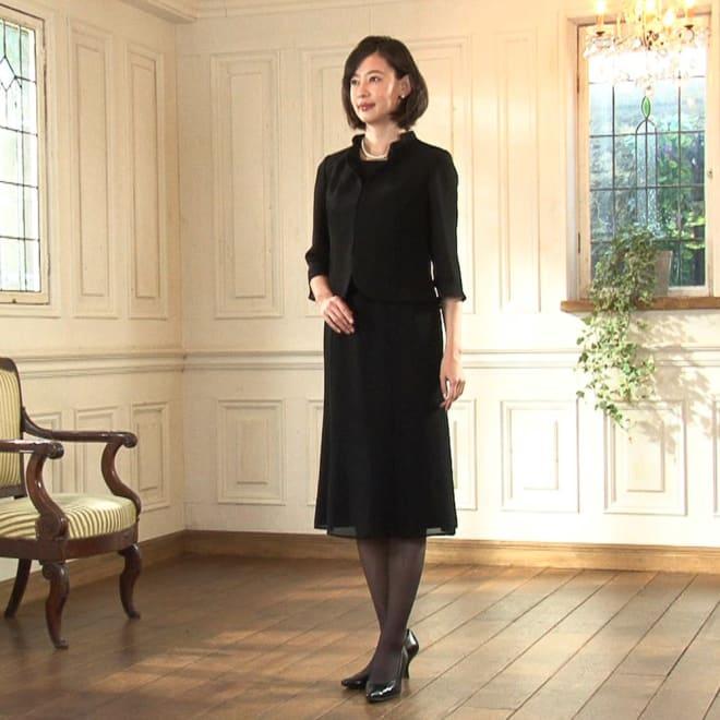 東京ソワール ブラックフォーマル アンサンブル風ワンピース フォーマルウェアの老舗「東京ソワール」との共同企画による涼しく着られるブラックフォーマル。デザインをバージョンアップした新作です。ウエストから裾に広がるエレガントなAライン。立体パターンで作っているから、着心地ゆったりなのにスタイル良く見えます。