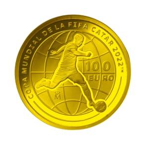 FIFAワールドカップカタール2022公式記念コイン スペイン 100ユーロ金貨 写真