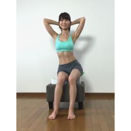 スイングコア プレミアム お尻(座骨)で座面を押すようにスイング。戻すときは座面を押し返すようにスイングしてください。筋肉を意識して運動を行うとより効率的です。