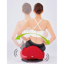 骨盤スリムチェアDX 【左右にゆらゆら、くびれメイク】 脇腹の筋肉を縮めるように、左右にゆらゆら。くびれメイクに効果的な腹斜筋をピンポイントで刺激します。