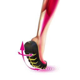 スリムコーチ エクササイズローファー [360°屈曲ラウンドソール]靴底に深い切り込みを入れることで、厚底ながら高い屈曲性を実現。足の筋肉を使いやすい構造。軽やかな足どりで積極的に歩けます。
