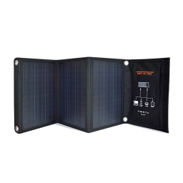 メガパワーバンク・ソーラーパネルセット じゃばらにして立てることもできます