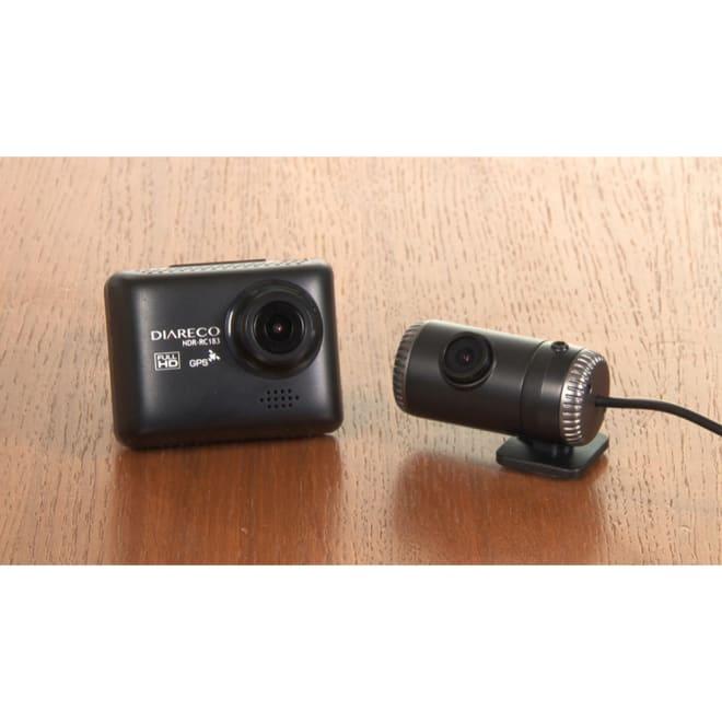 後方カメラ付き 高画質ドライブレコーダー 後方カメラもセットしたドライブレコーダー。前も後ろも高画質200万画素で録画でき、さらにGPS機能付き。