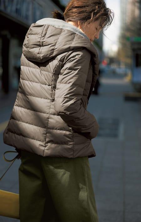 薄軽ダウンフーデッド ダブルジャケットコートのコーディネート