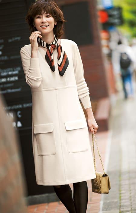 Stilconf/スタイルコンフ スカーフ付き ジャンパースカートのコーディネート