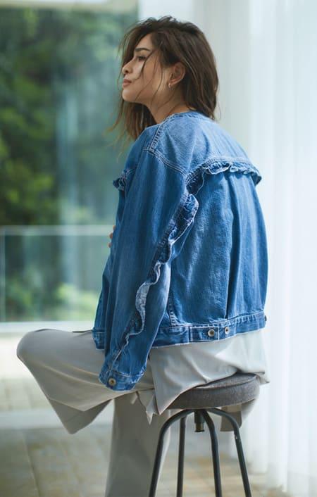 Moname/モナーム フリルデザインデニムジャケットのコーディネート