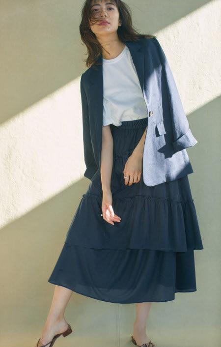吸水速乾&UVカット 変形ティアードスカートのコーディネート