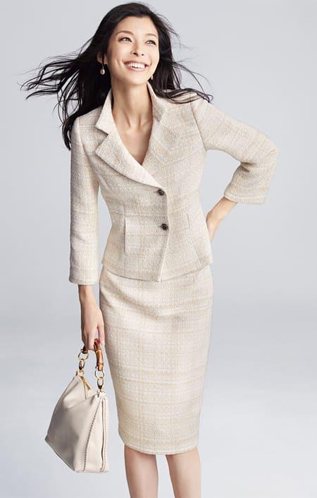 「EFILAN」 イタリア素材 ツイード スーツセット(ジャケット+スカート)のコーディネート